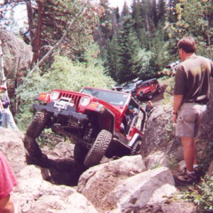 Red Jeep in the Chute